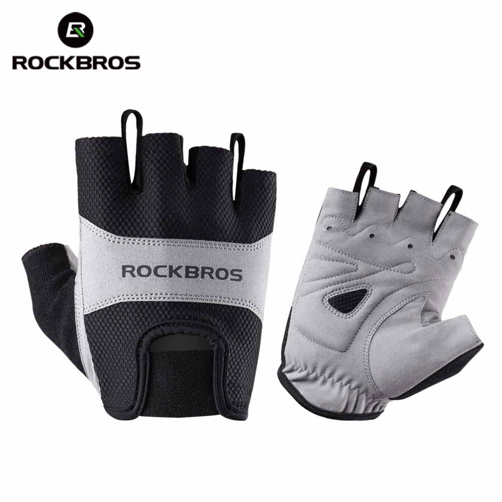 Mens Cycling Half Short Finger Gloves Shockproof Breathable Sporting Gloves US
