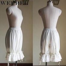 Wepbel rendas lolita estilo curto calças femininas bloomers latern abóbora babados solto cintura elástica alta curto undersaias