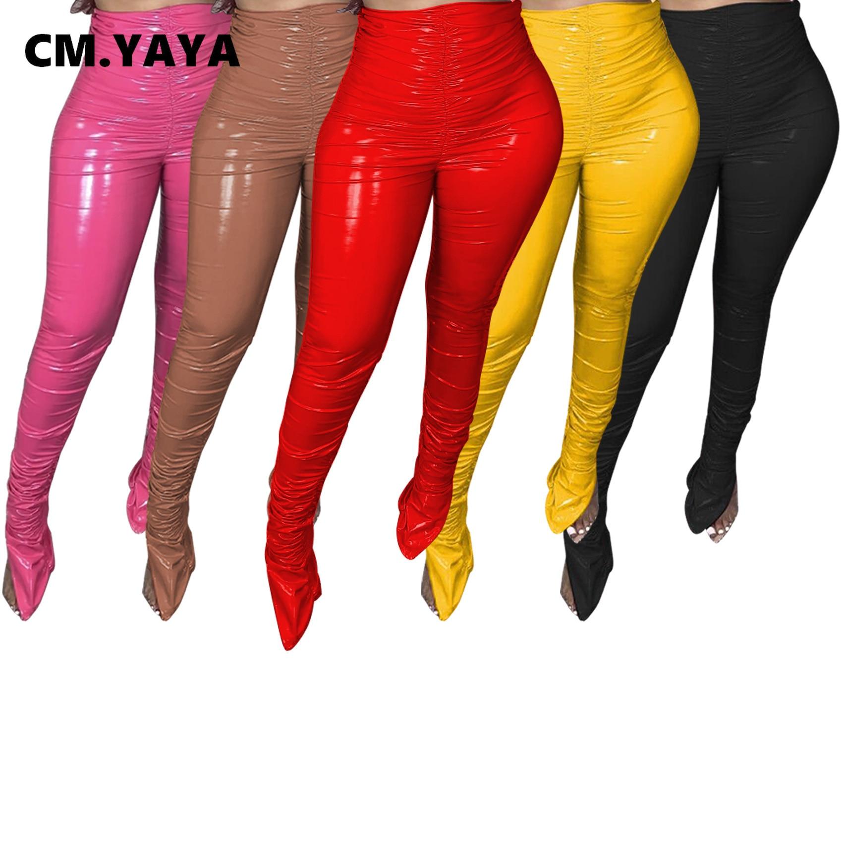 CM.YAYA – pantalon en Faux cuir pour femme, vêtement de rue, brillant, froncé, taille haute, vêtements de sport, fente PU, survêtement, automne hiver