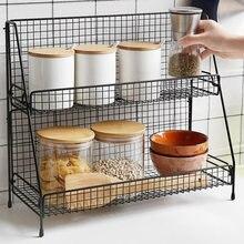 Multi funcional ferro dupla camada cesta de armazenamento cozinha banheiro jardim desktop metal preto e branco display rack
