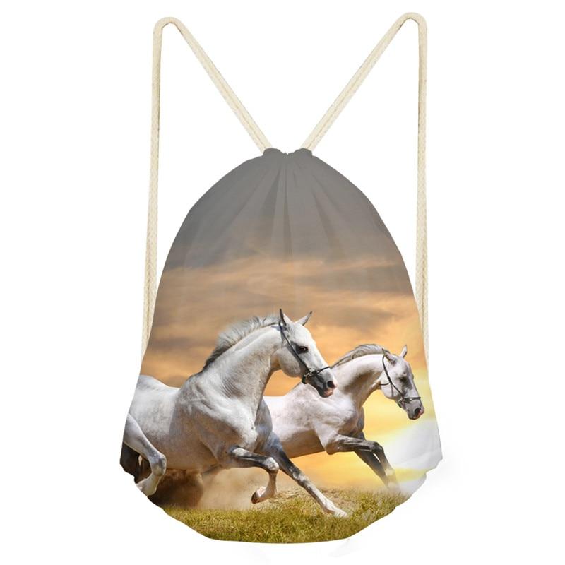 Unisex Drawstring Bag Beach Bag Outdoor Fitness Sport Bag Bundle Pocket Backpack Women Backpack Running Horse Bag Drop Shipping