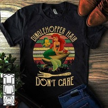 De Kleine Zeemeermin Ariel Dinglehopper Haar Dont Care Dames Zwart T-shirt S-3XL(China)