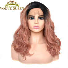 Vogue Queen Two Tone Ombre Orange Pink Loose Curly Synthetic Lace Front Wig High Density For Women(China)