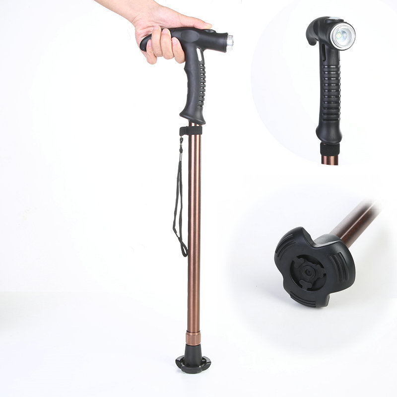 New Style Rechargeable Light Included Outdoor Aluminium Alloy Alpenstock Hiking Travel Walking Stick Wand Walking Stick For The