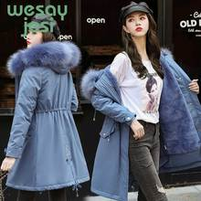 New long parkas coat Thicken with a belt warm big fur collar jacket coats Casual female winter outwear S-2XL
