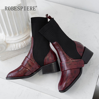 ROBESPIERE Women Knitting Mid Calf Boots Genuine Leather Thick Heels Shoes Girls Square Toe Warm Plush Elastic Socks Boots B131