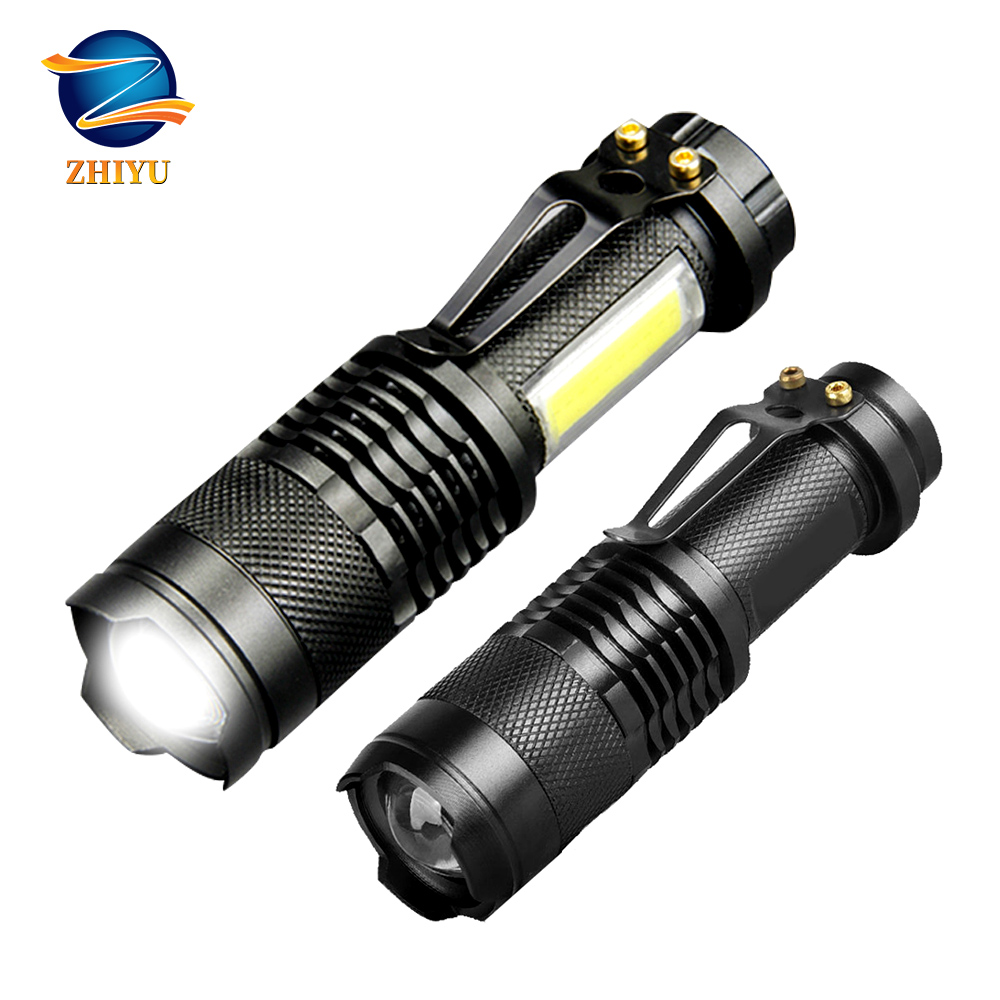 ZHIYU Led Flashlight Portable Mini Zoom Torch COB+XML Q5 Flashlight Use AA/14500 Battery 800Lm Outdoor Waterproof Led TorchLight