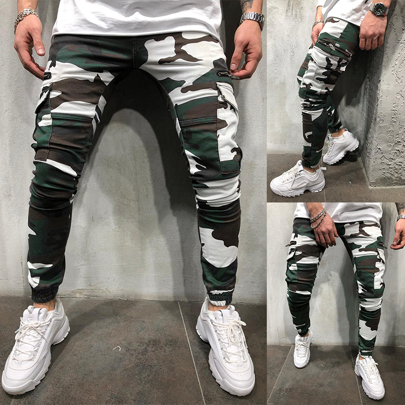 Pants Men 2020 Autumn And Winter New European Men's Fashion Casual Zipper Stitching Camouflage Casual  Joggers  Men's Trousers