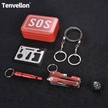 Safety Survival Escape Kit Outdoor Emergency Camping survival kit self help box SOS for Camping Hiking saw whistle compass