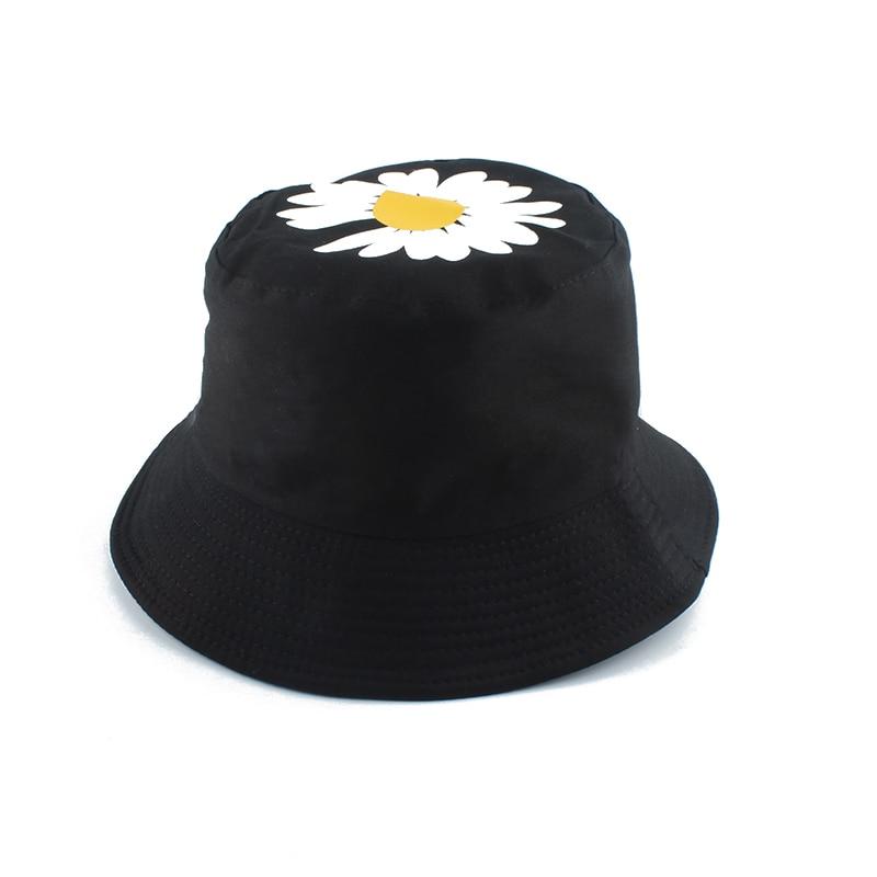 2020 Spring Summer Women Fishing Hats Little Daisies Flower Reversible Bucket Hat Sunscreen Sun Cap Lady Fisherman Hat