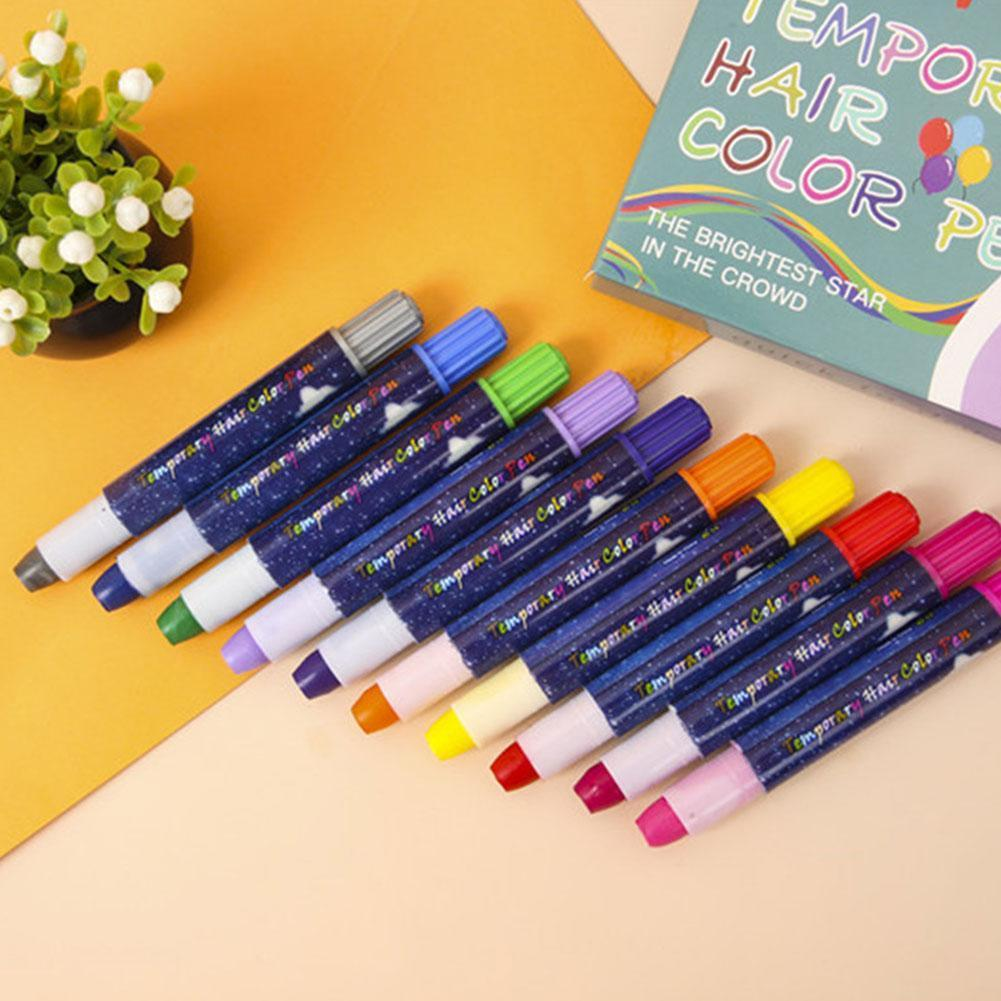 10 Color Temporary Hair Dye Chalk Crayon Hair Dye Set Of 3 Dye Colors Hair Flashing Of Boxes Dye + Pen Hair 10 Disposable J5U8