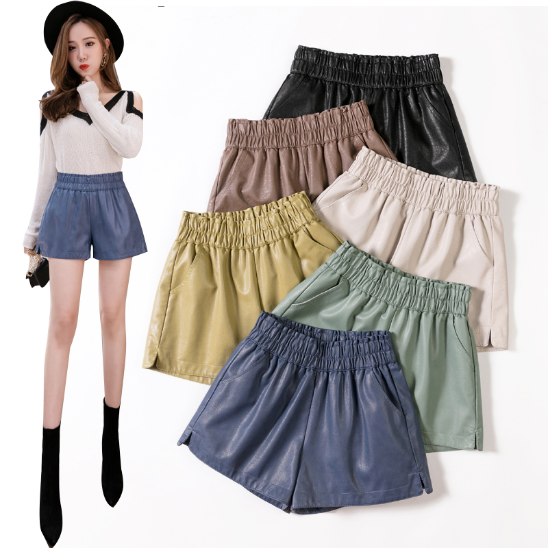 PU Leather Wide-legged Shorts Autumn Winter Women Simple Elastic Waist PU Shorts Girls A-line Faux Leather Shorts Bottoms