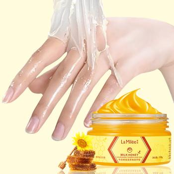 LAMILEE mleko miód maska do rąk ręcznie wosk nawilżający wybielanie pielęgnacji skóry złuszczający modzele ręcznie Film pielęgnacja dłoni krem 110g tanie i dobre opinie La Milee Unisex Milk Honey Chiny GZZZ YGZWBZ Hand Mask Rąk maska 2017139396
