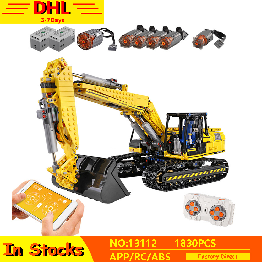Lepining 20007 Technic RC APP Motorized Excavator Truck Model Building Blocks MOC 8043 Bricks Fit Lepined <font><b>42009</b></font> Children Toys image