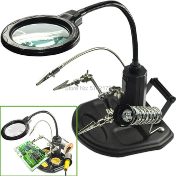цена на Hand Soldering Solder Iron Stand Holder Station Desktop Magnifying Glass Clamp LED Clip Magnifier Welding Repair Tools