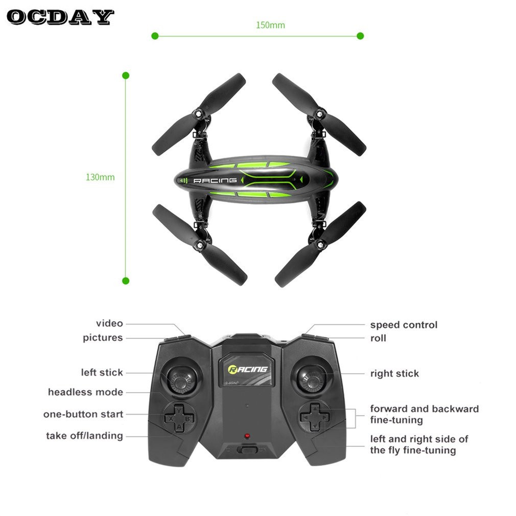 OCDAY Multifunction Mini RC Drone Kit With HD Camera 6