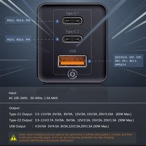 Image 4 - Baseus GaN 65 w 빠른 충전기 pd 3.0 빠른 충전 afc fcp 노트북 컴퓨터 용 iphone 11 x xs huawei mate20 여행용 충전기 eu