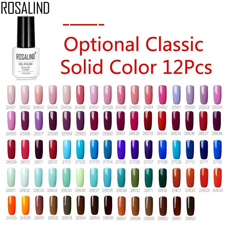 ROSALIND Gel Nail Polish Set Optional 6 10 12PCS Classic Pure Color Vernis Semi Permanent For Manicure Set
