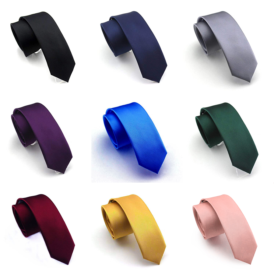 GUSLESON 6cm Solid Slim Tie New Skinny Neck Tie High Quality Fashion Green Black Yellow Necktie Free Style Men Plain Tie