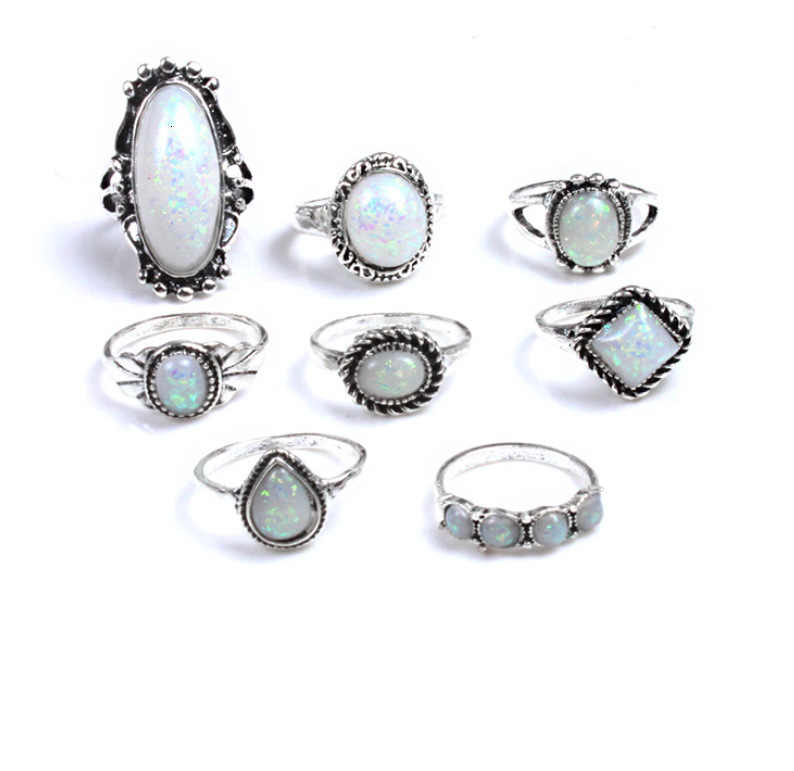 BW 7pcs/Lot Classic Vintage Bohemian Antique Boho Geometric Pattern Ring Set For Women Jewelry Party Knuckle Wedding Rings 0735