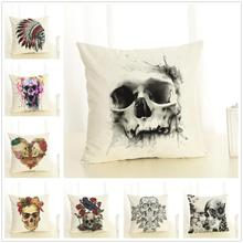 Halloween Skulls Cushion Cover Party Home Decorative Sofa Pillowcase Comfortable Cotton Linen Pillow Cover 45x45 cm цены