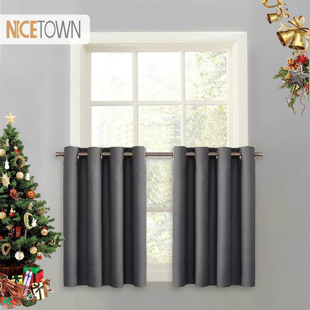 NICETOWN Blackout Tier Valance Curtain Thermal Insulated  Grommet Top Curtain Panel With Eyelets For Kitchen Half Window ,1Pair