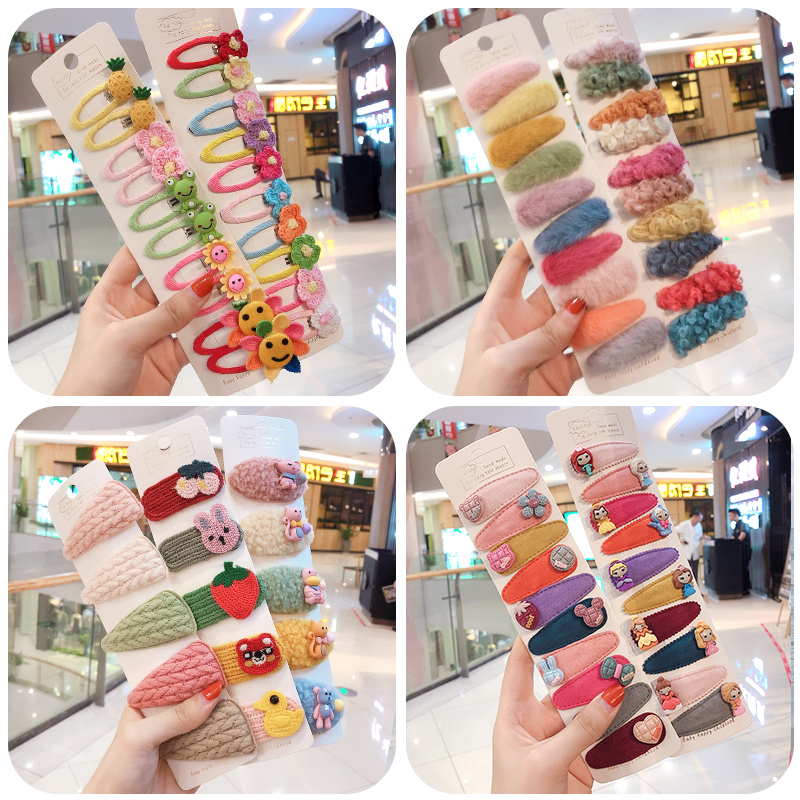5/10Pcs/set Winter Girls Cute Cartoon Cashmere Faux Fur Soft Hairpins Sweet Children Hair Clips Barrettes Kid Hair Accessories