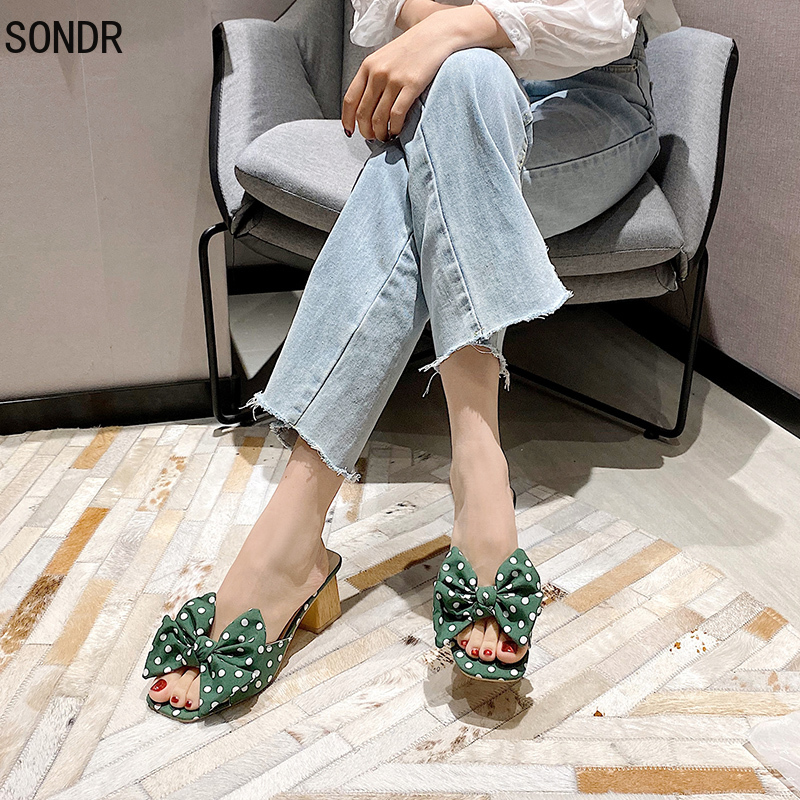 2021 Sweet Slippers High Heels Women Polka Dot Bow Slides Casual Square Outddor Slippers Sandal Female Ladies Outside Wave Point