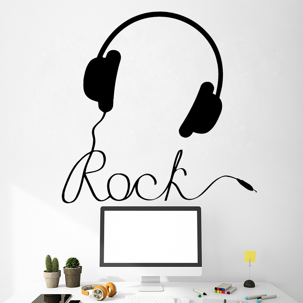 Headphones Music Sign Wall Decal Rock Pop Songs Cool Wall Sticker Teen Bedroom Decoration Accessories Removable Home Mural Z432 image