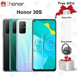 Перейти на Алиэкспресс и купить original honor 30s 5g mobile phone 6.5 inch 8gb+128gb kirin 820 octa core android 10 face unlock 40w supercharge smartphone