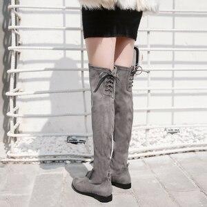 Image 3 - دونا في النساء فوق الركبة الأحذية شقة عادية جولة تو الدانتيل يصل السيدات أحذية عالية جلد طبيعي جديد الخريف الشتاء النساء الأحذية