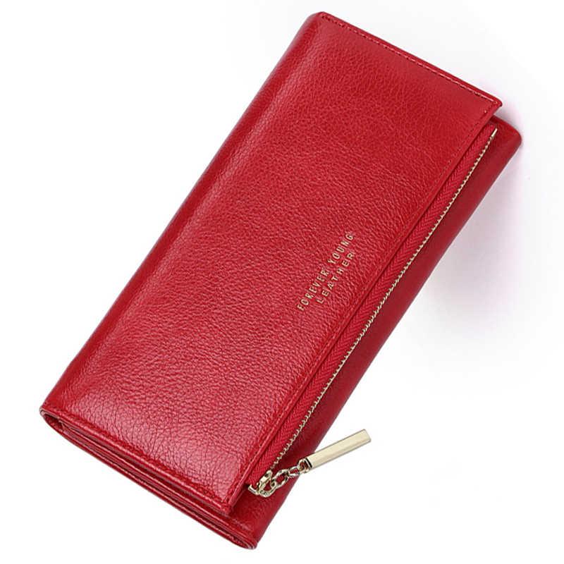 Portfel kobiet skórzany portfel portfel sportowy 3 krotnie najwyższej jakości kobiety duży portmonetka wielu gniazda na kartę mężczyzn portfele Carteira Feminina