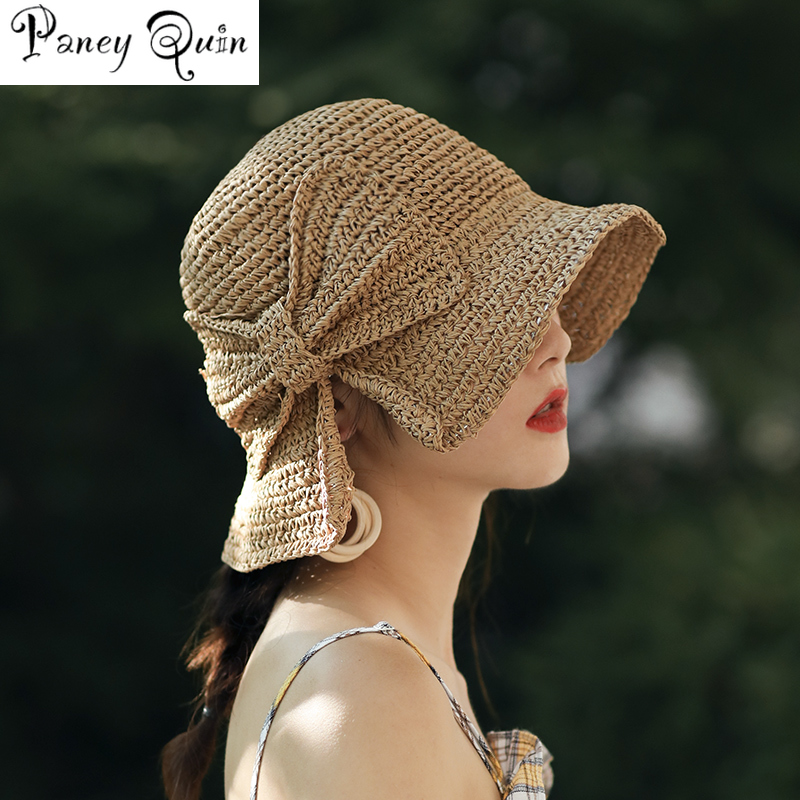 100%Raffia Bow Sun Hat Wide Brim Floppy Summer Hats For Women Beach Panama Straw Dome Bucket Hat Femme Shade Hat