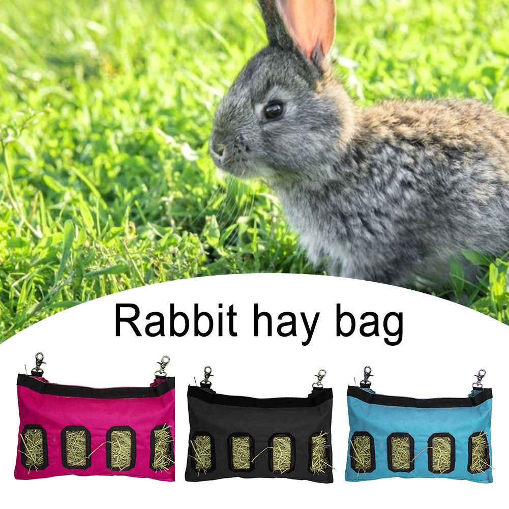 3 Colors Hay Bag Hanging Feeder Sack Holder Feeding Supply For Rabbit Guinea Pig Chinchilla Small Animals Pet Cage Accessories