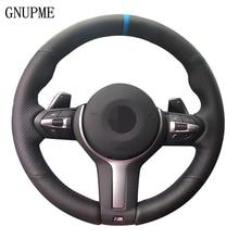 Черный кожаный ремешок, синий циферблат маркер чехол рулевого колеса автомобиля для BMW F33 F30 M2 M3 F82 M4 M5 F12 F13 M6 F85 X5 X6 F87 F80 M Sport