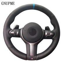 Azul de couro preto Tampa Da Roda de Direcção Do Carro Marcador para BMW F33 F30 M2 M3 F82 M4 M5 F12 F13 M6 F85 X5 X6 F87 F80 M Sport
