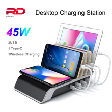 For Iphone Samsung 45W USB Charge Multi Usb Ports Charging Dock Station Desk Phone Organizer Multiple Fast Wireless Charger