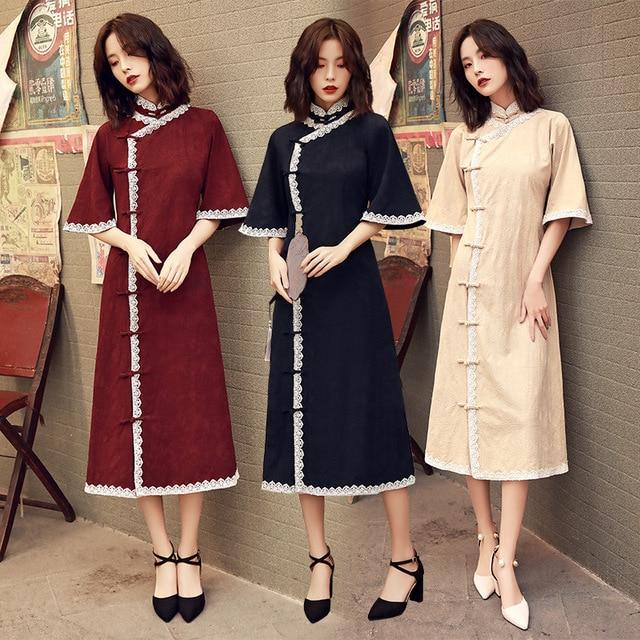 2020 Vestido De Debutante Cheongsam 2020 Summer New Modified And Linen Robe Young Girl Students Cute Little Sweet Wind Clothing