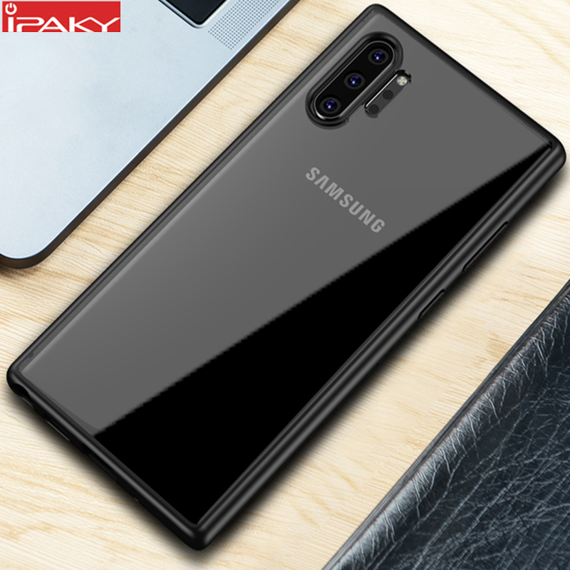 For Samsung Note 10 Case IPAKY Transparent Impact Resistant TPU+PC Hybrid Shockproof For Samsung Galaxy Note 10 Plus Case