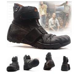 Botas da motocicleta do punk à prova dwaterproof água sapatos de corrida de motocross antiderrapante botas de couro de couro botas casuais tornozelo martens