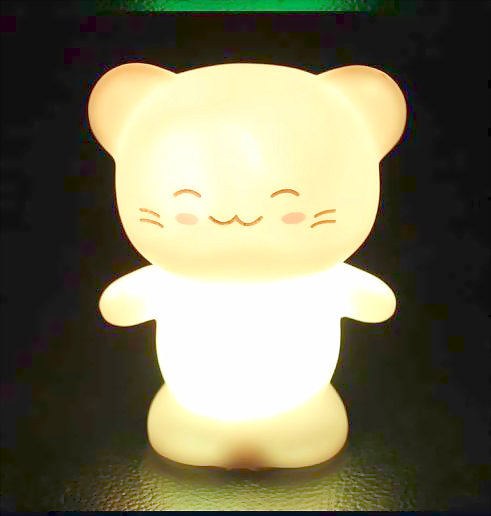 Colorful Happy Cat Animal Night Light LED Lamp Silicone Plastic Button Battery Baby Nightlight For Children's Room Toy Kids Gift