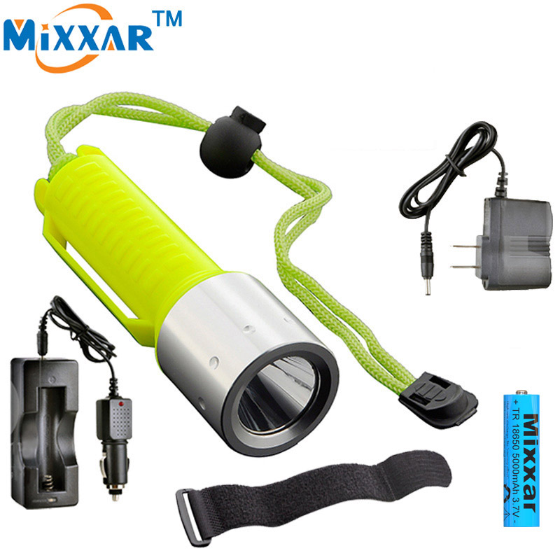 ZK20 Diving Flashlight Q5 LED Lantern Lamp Rechargeable Dive Torch Light 18650 Underwater Diving Scuba Flashlights Dropshipping