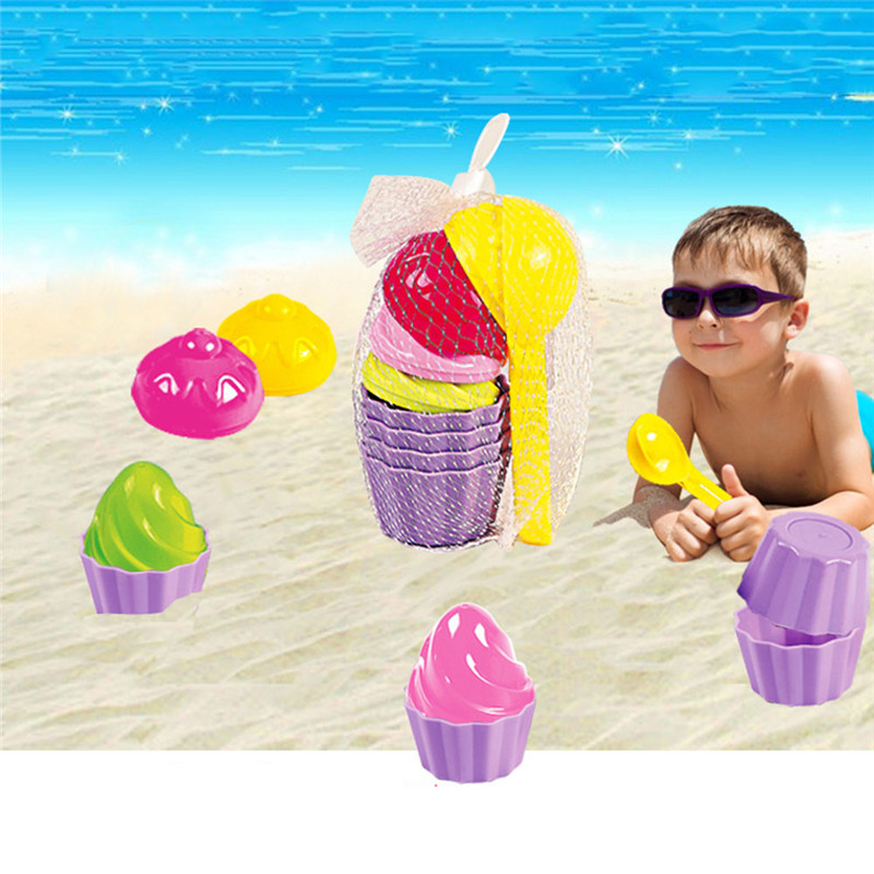 9pcs//Set Kids Baby Beach Sand Toys Ice Cream Mould Spoon Play Sand and Snow Toy