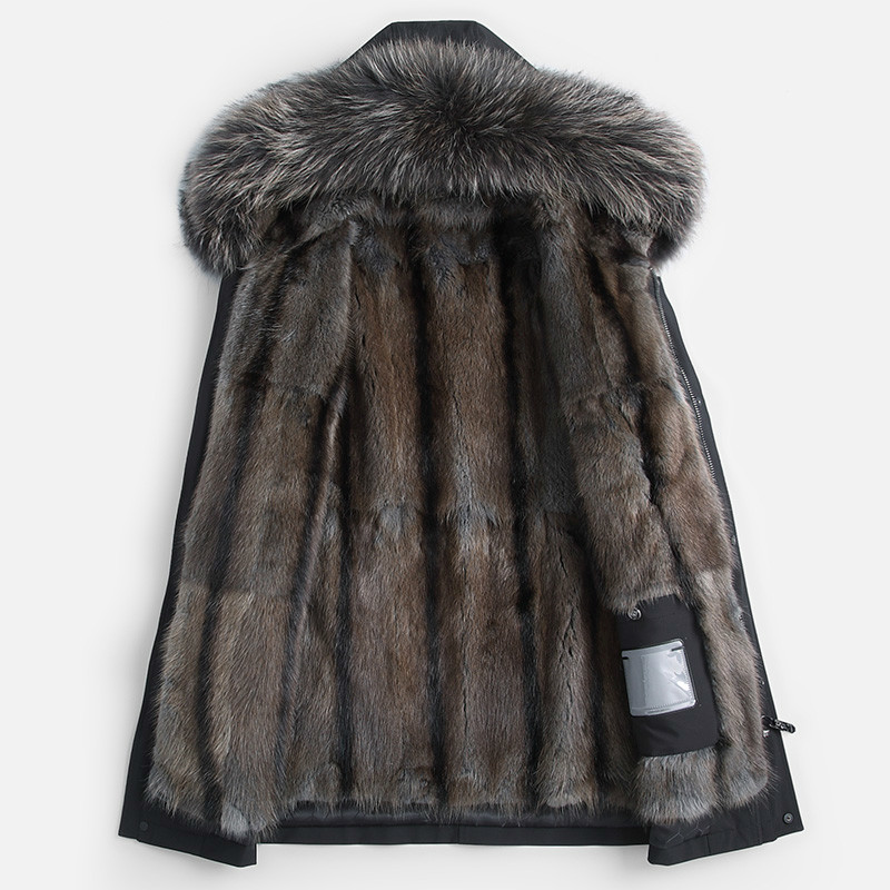Winter Real Fur Coat Men Parka Natural Mink Fur Liner Jacket Raccoon Fur Collar Mens Mink Jackets Parkas 2020 KJ3498