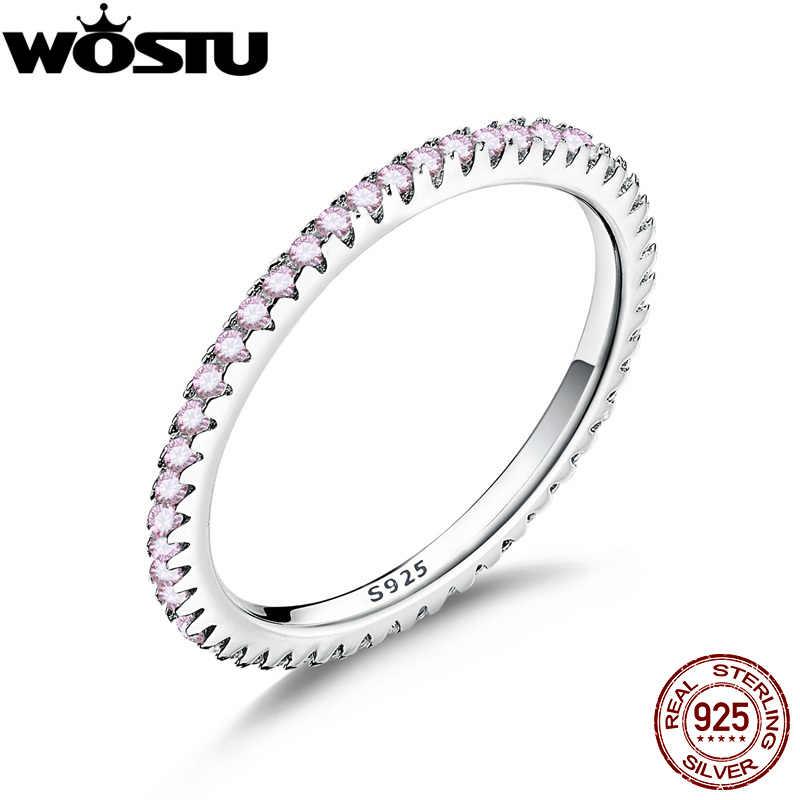 WOSTU, настоящее 925 пробы, Серебряное блестящее розовое CZ стекируемое кольцо на палец для женщин, обручальное серебряное ювелирное изделие CQR066