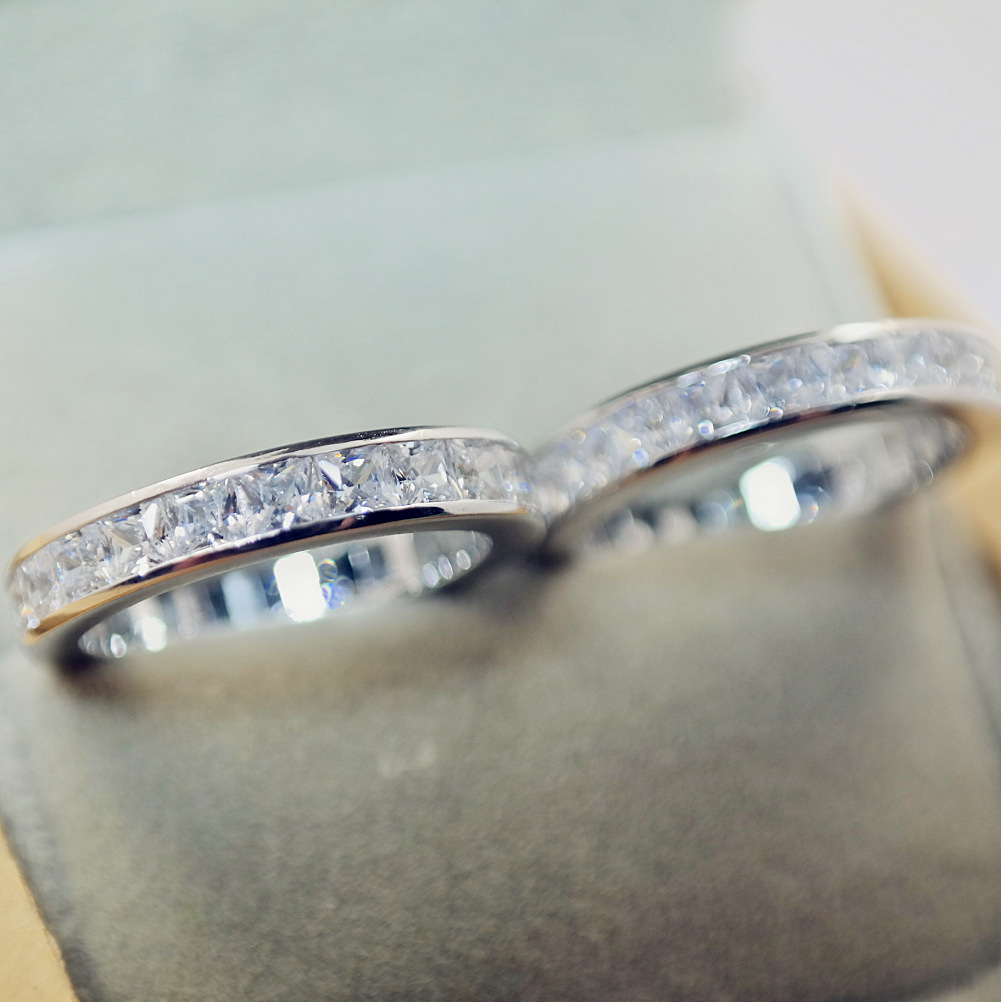 Silver Color 925 Sterling VS2 Diamond Ring Set For Women Anillos Bizuteria Gemstone Engagement 925 Jewelry Ring Box Women