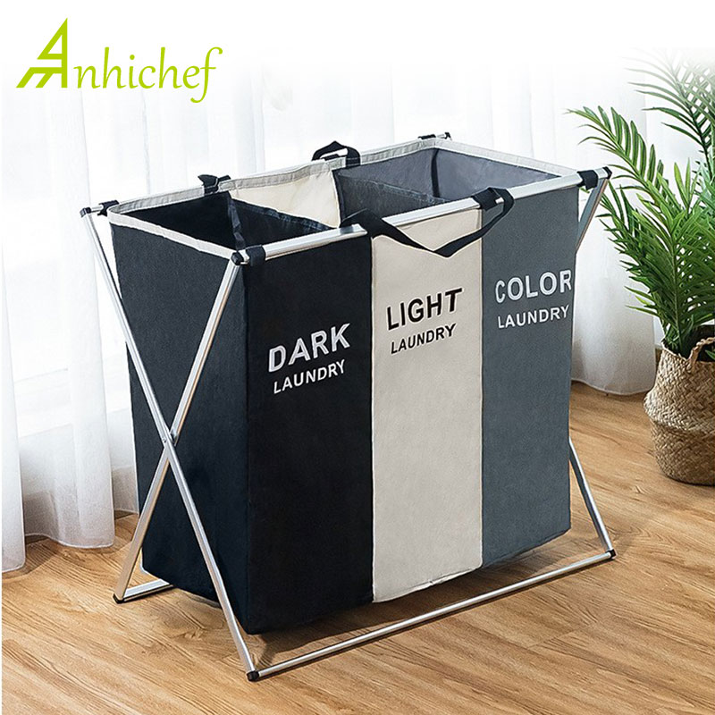 Organizer Sorter Laundry-Basket Dirty-Clothes Foldable Collapsible For Hamper Large Three-Grids