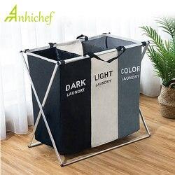 Cesta de lavanderia dobrável organizador para roupa suja cesto de lavanderia grande classificador duas ou três grades dobrável cesta