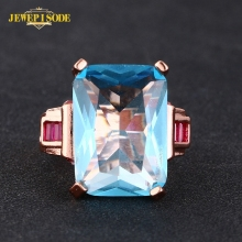 Jewepisode Vintage Rose Gold Color Blue Topaz Gemstone 925 Sterling Silver Rings for Women Anniversary Party Fine Jewelry ring tbj romantic small ring with natural good color blue tanzanite gemstone girl ring in 925 sterling silver fine jewelry for women