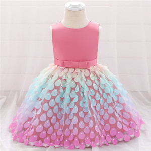 Платье для новорожденных девочек, летнее платье принцессы с большим бантом для крещения, вечерние платья для девочек на день рождения, Одеж...